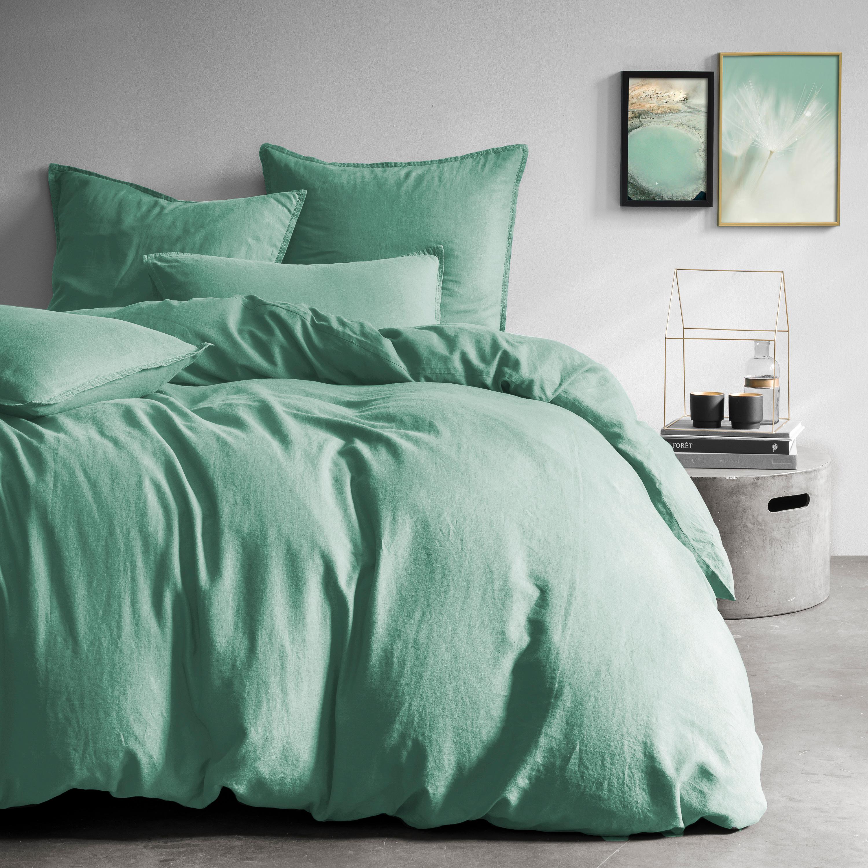 Parure de lit unie en métis lin/coton 240x220 cm