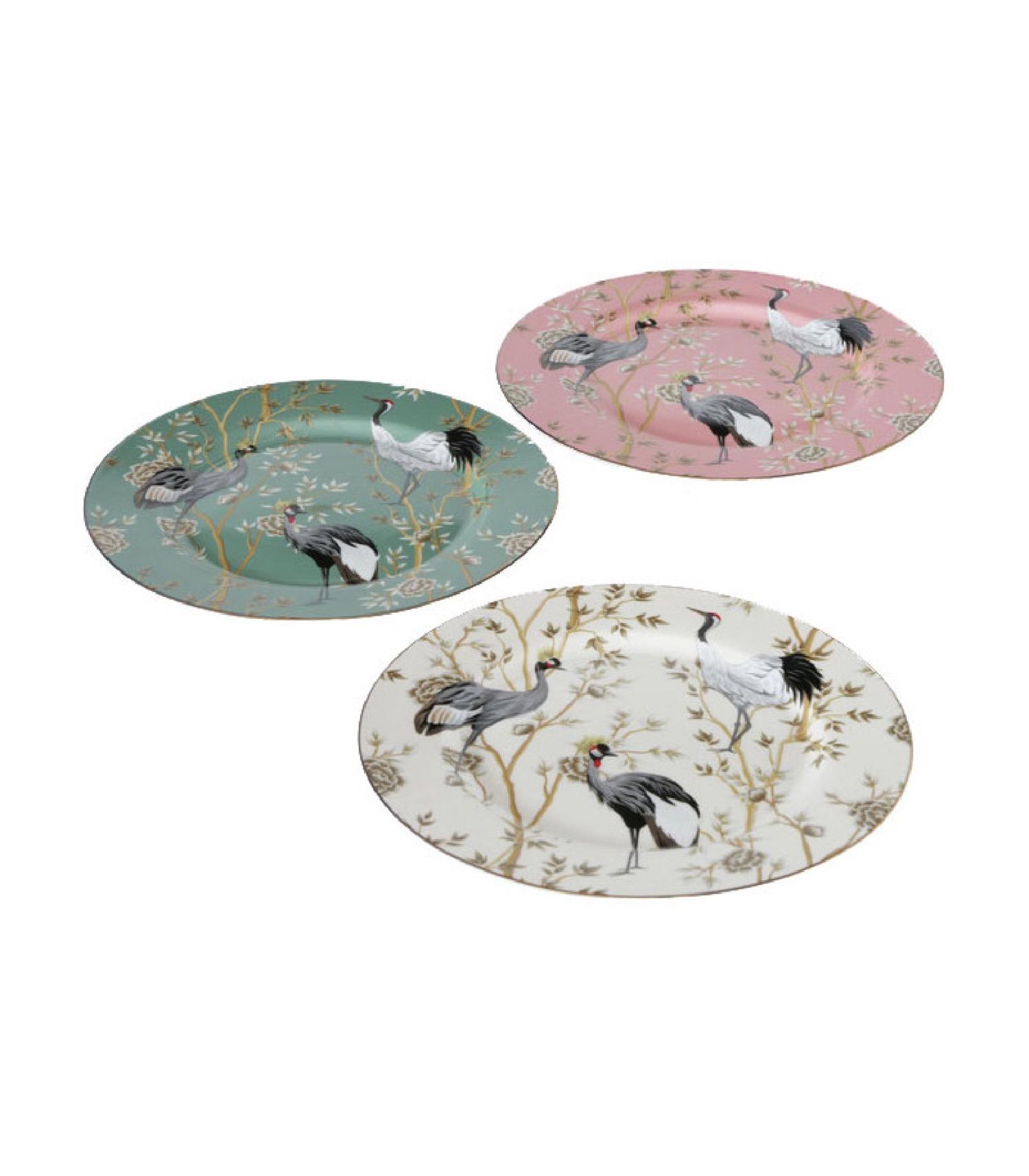 Set de 3 assiettes en céramique motifs fleurs et oiseaux D27cm