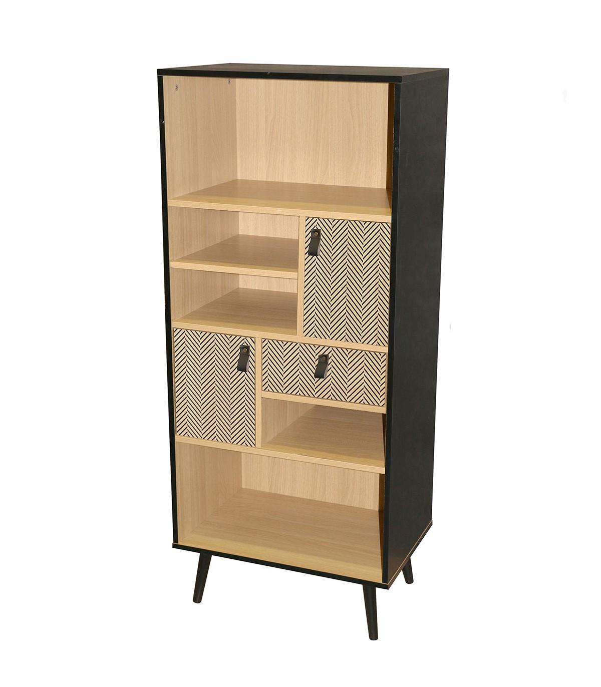 Bibliothèque 2 portes avec motif chevron H140cm - Marron
