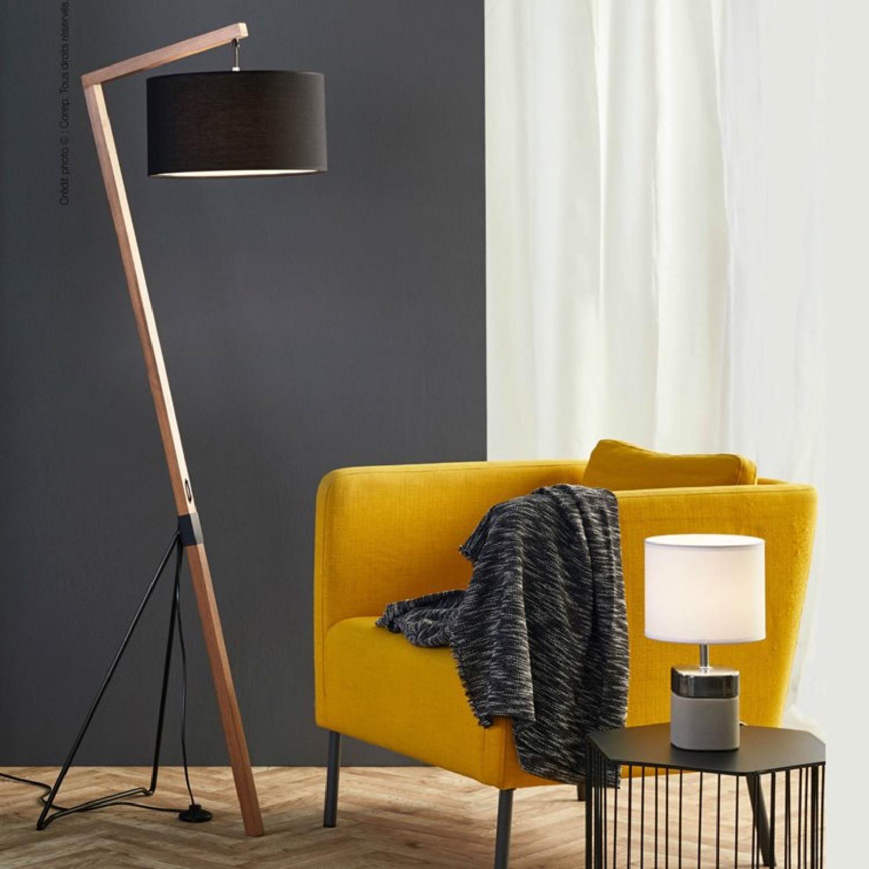 Lampadaire bois/métal H160cm