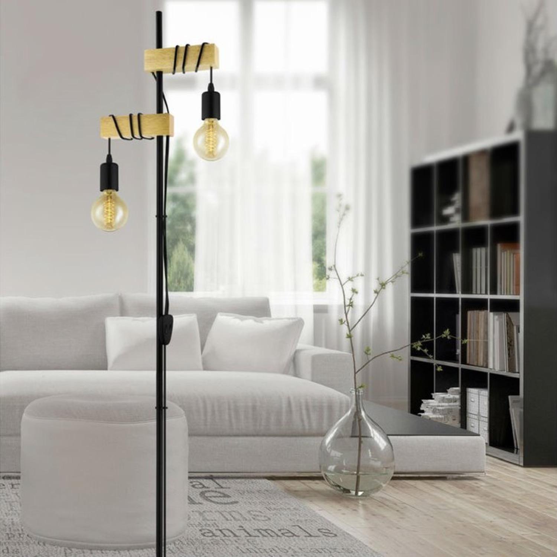 Lampadaire 2 lumières métal/bois H166,5cm