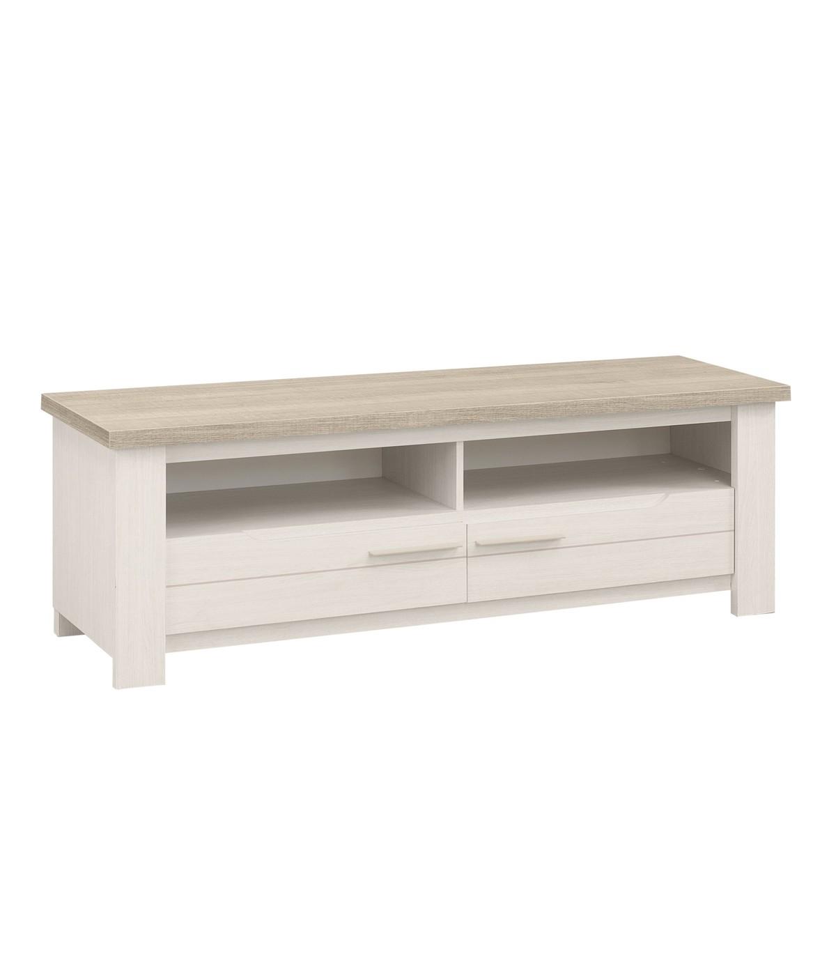 Meuble TV 2 tiroirs et 2 niches effet chêne blanchi