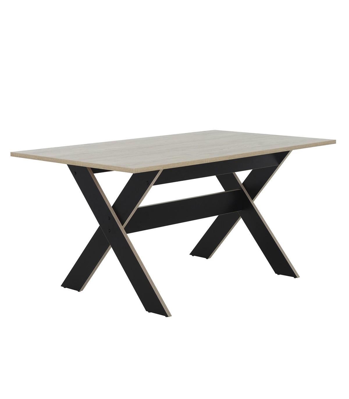 Table à manger rectangulaire décor bois et noir - L160cm