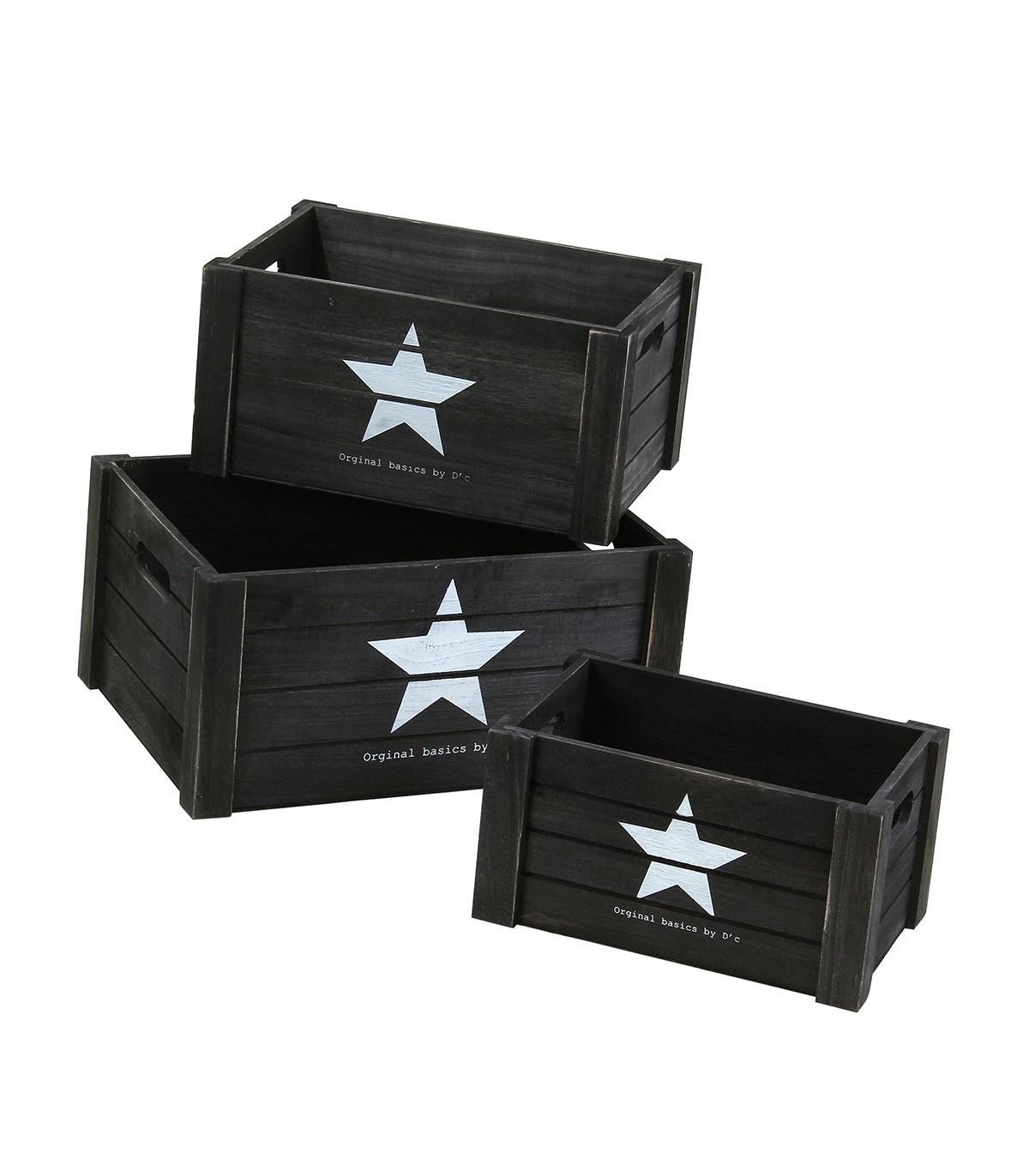 Lot de 3 cubes en bois empilables avec poignées motif étoile - Noir