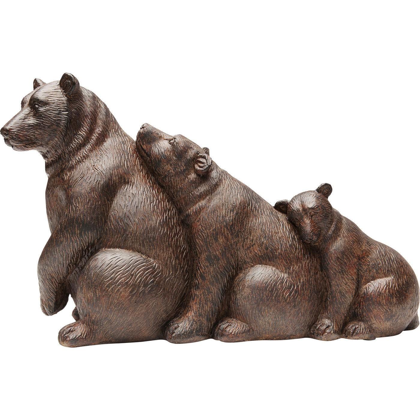 Statuette ours sieste en polyrésine marron H20