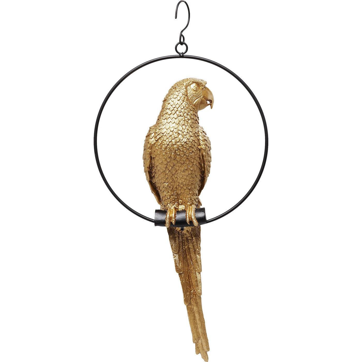 Déco perroquet en polyrésine dorée anneau en acier