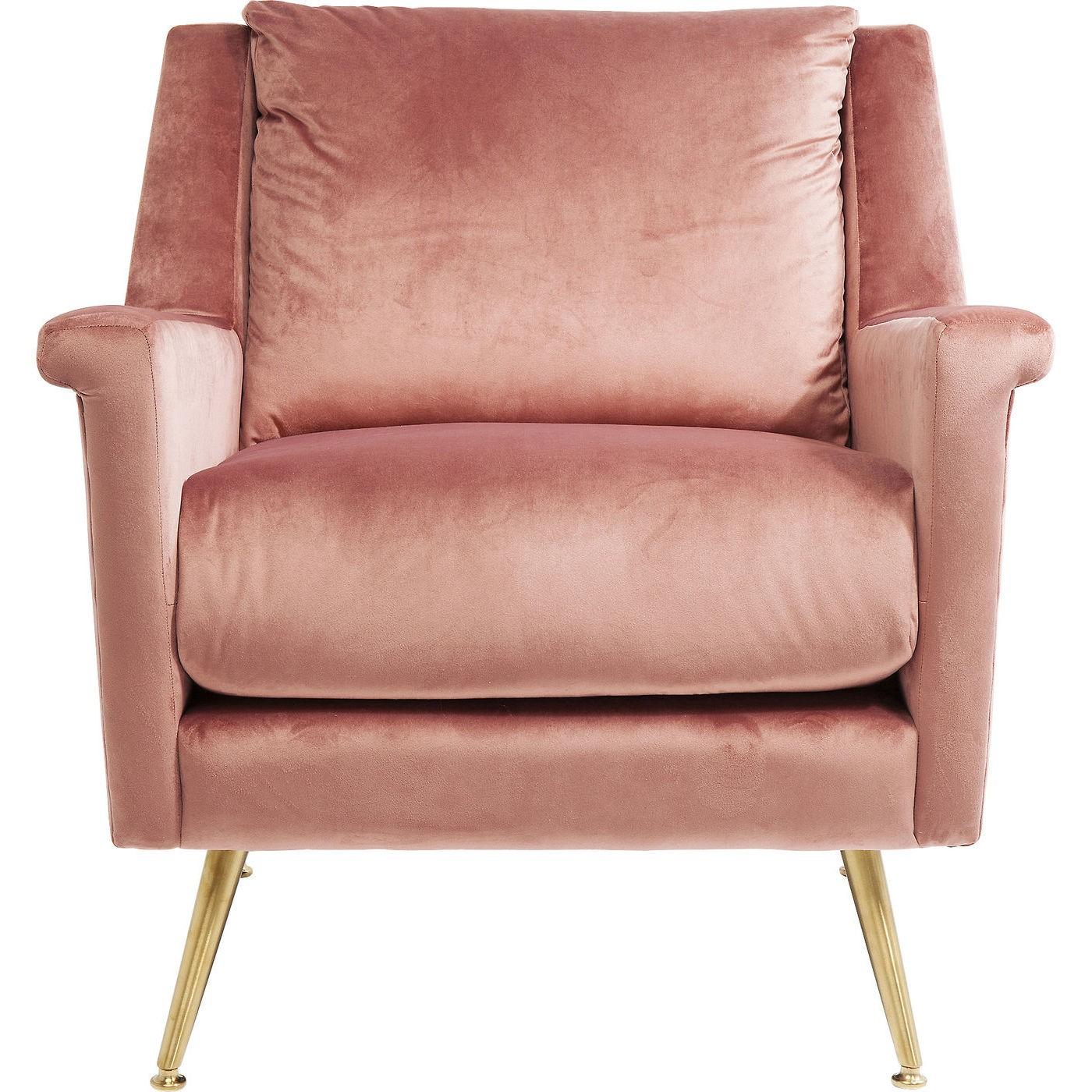 Fauteuil en velours rose et acier doré