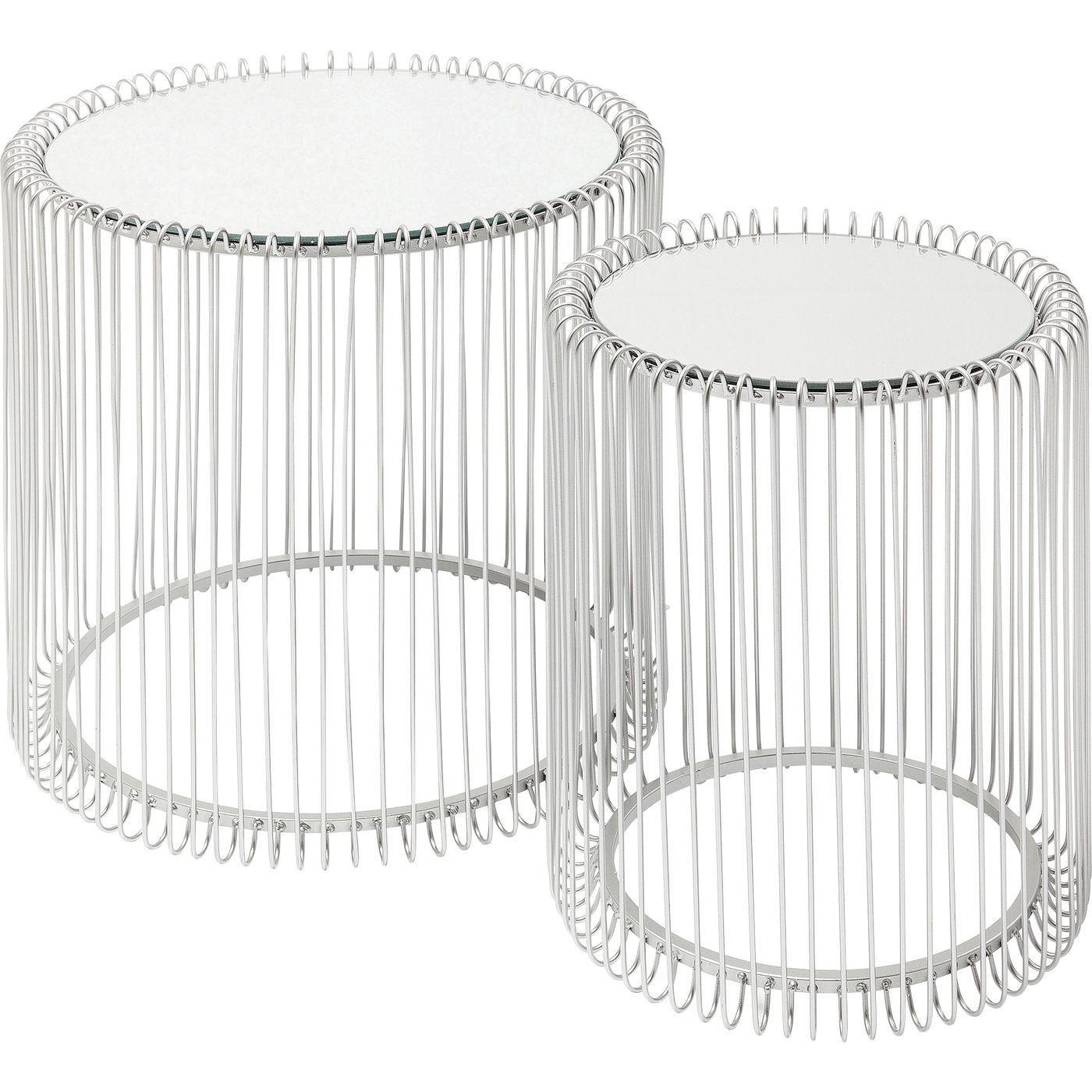 2 tables d'appoint rondes en acier argenté et verre miroir