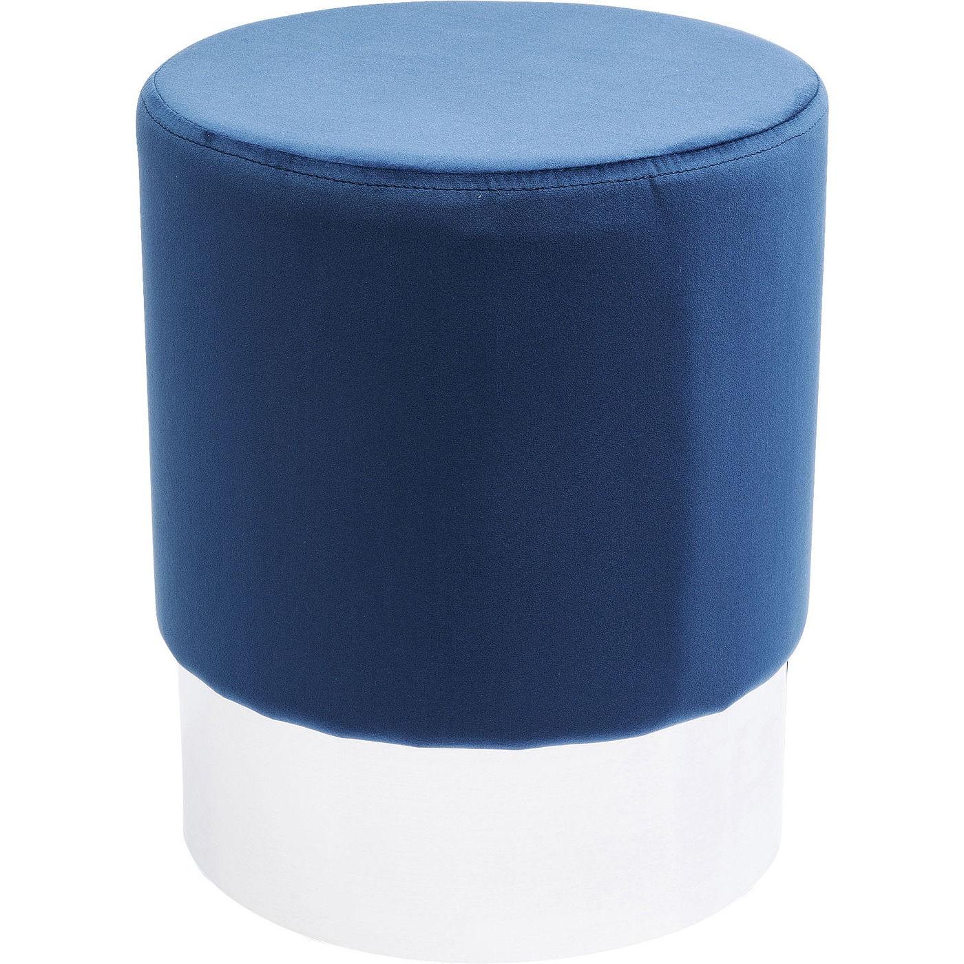 Tabouret en velours bleu pétrole et acier chromé D35