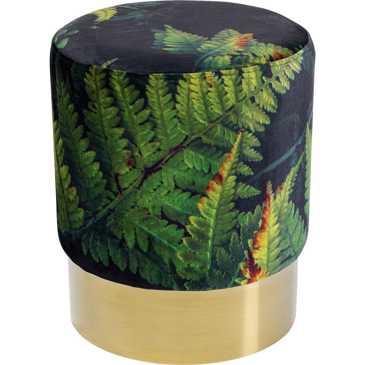Tabouret en velours vert imprimé feuilles et acier doré D35