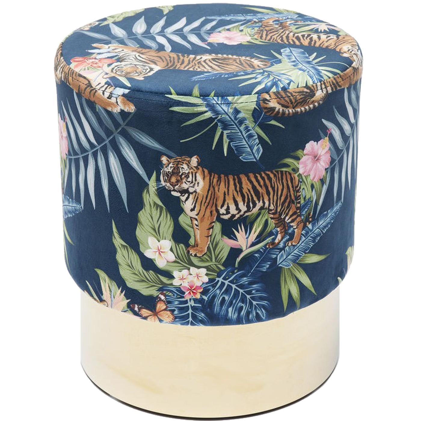 Tabouret en velours bleu imprimé tigres et acier doré D35