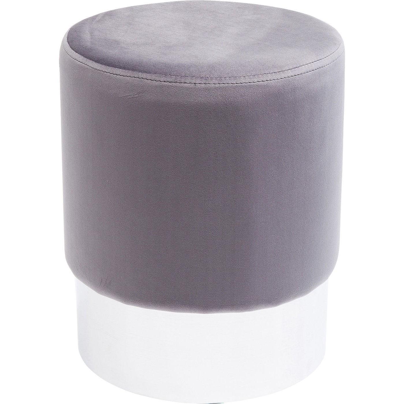 Tabouret en velours gris clair et acier chromé D35