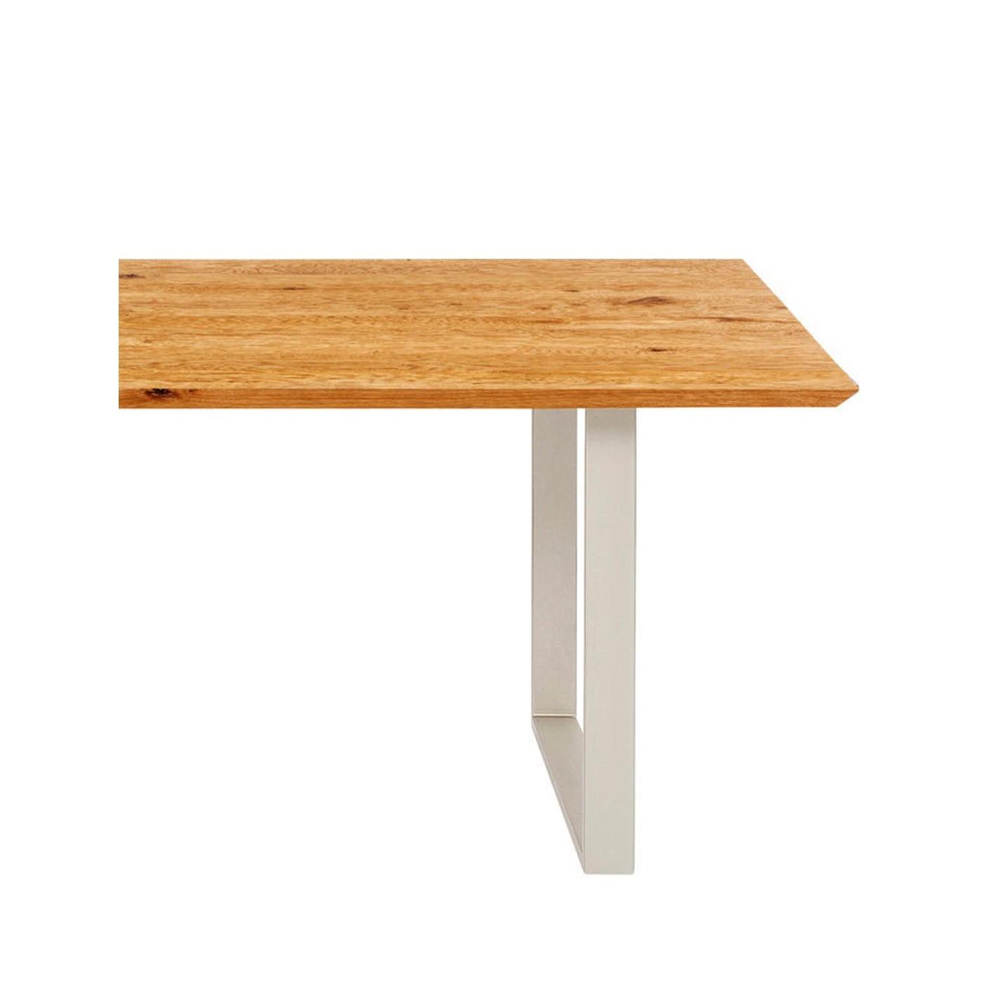 Table à manger 8 personnes en chêne biseauté et acier argent L180
