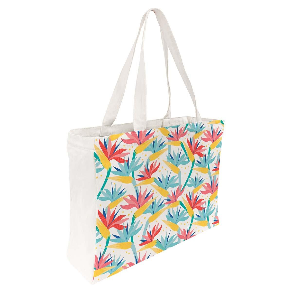 Tote Bag Coton Imprimé Fleurs Exotiques
