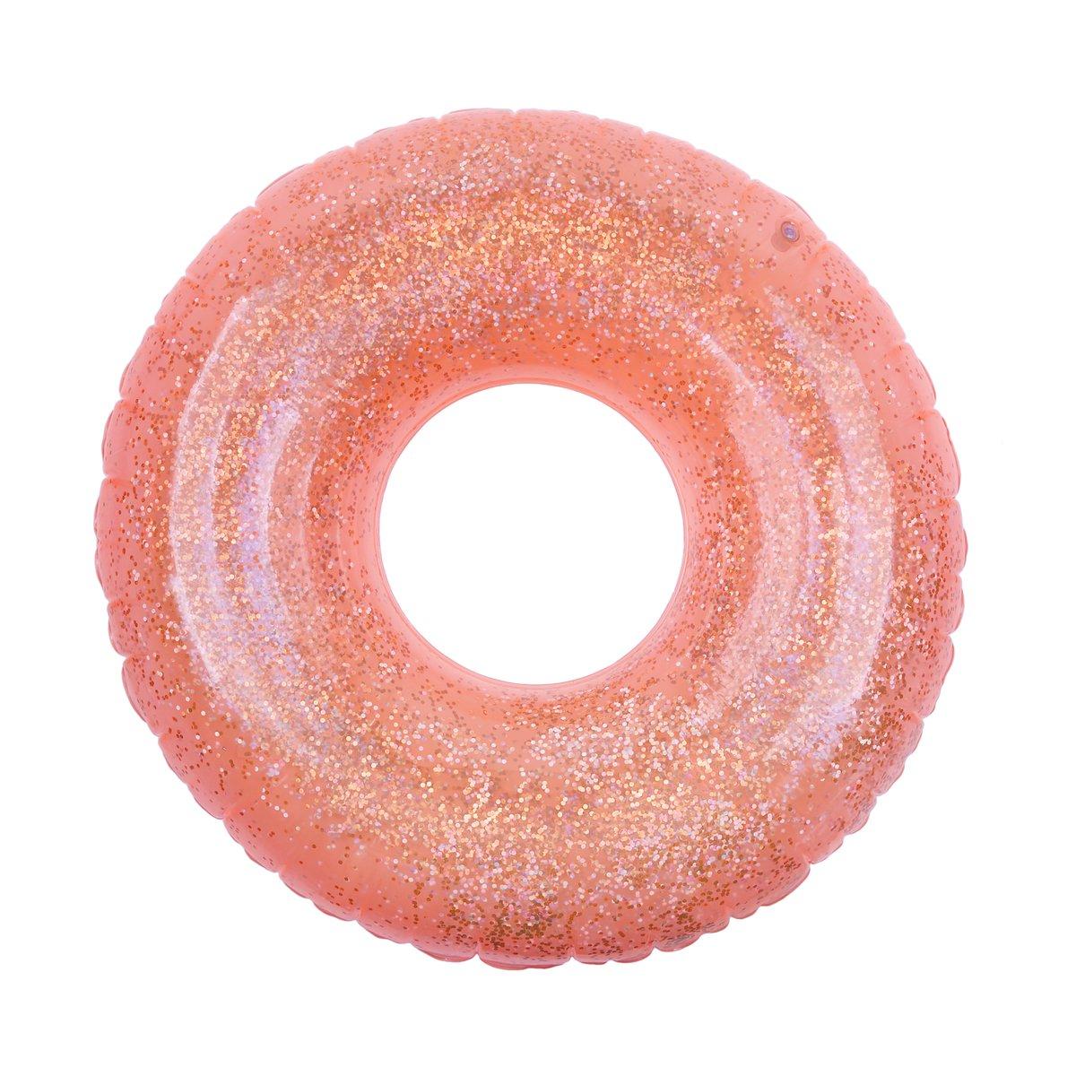 Bouée gonflable orange néon pailletée
