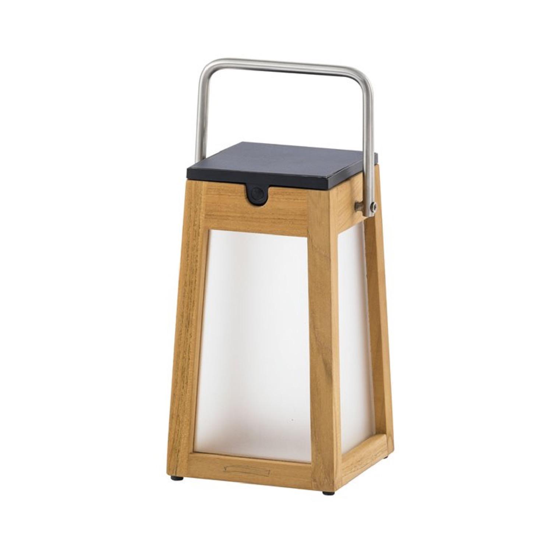 Lanterne d'extérieur LED rechargeable & solaire bois/inox