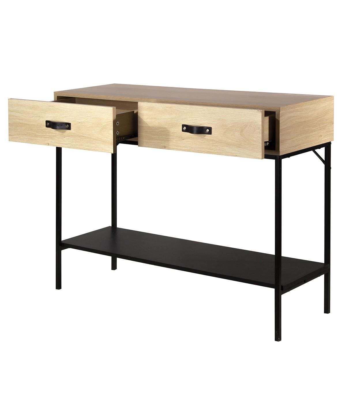 Console 2 tiroirs décor chêne et plateau noir