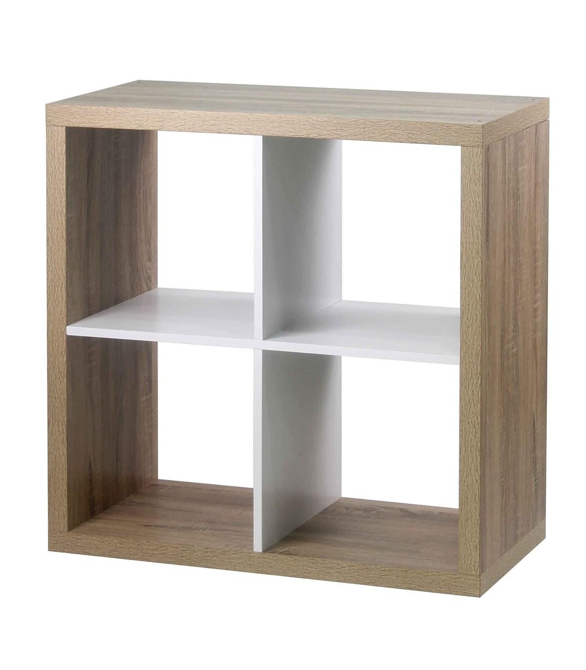 Bibliothèque 4 cases coloris chêne intérieur blanc