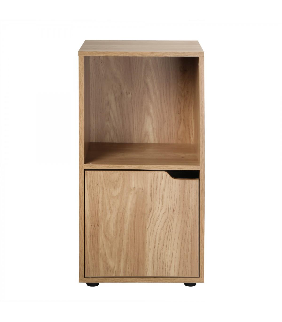Bibliothèque 2 cases décor bois 1 porte