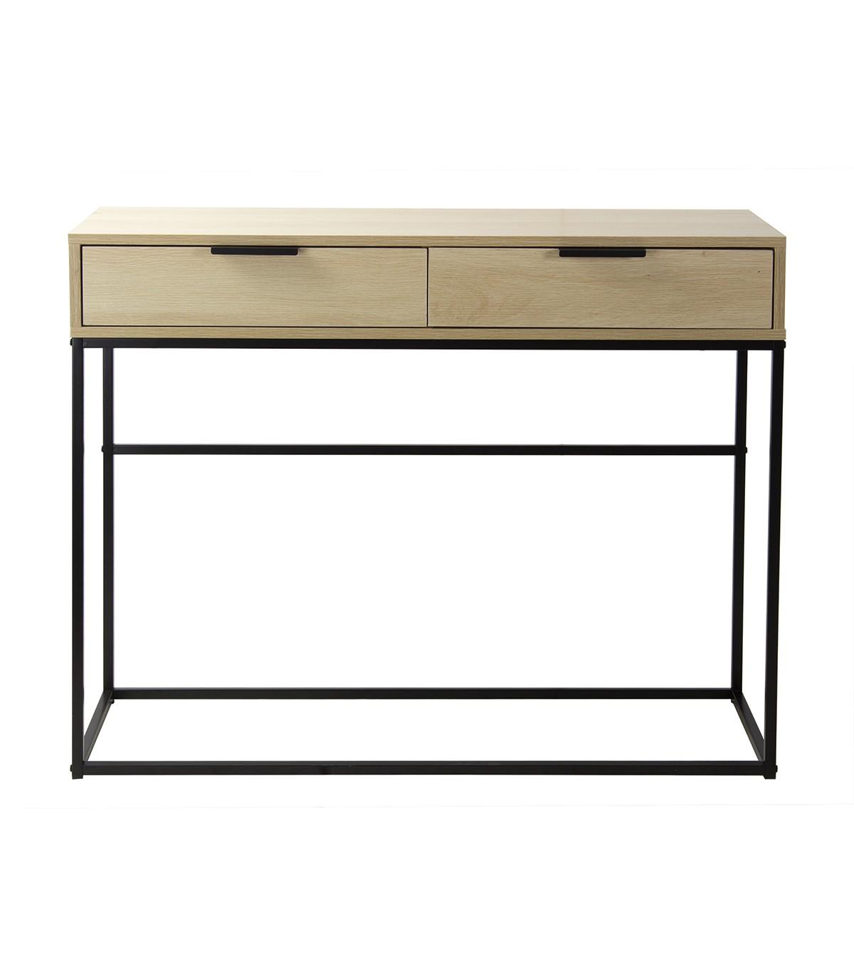 Console 2 tiroirs décor chêne clair et métal noir