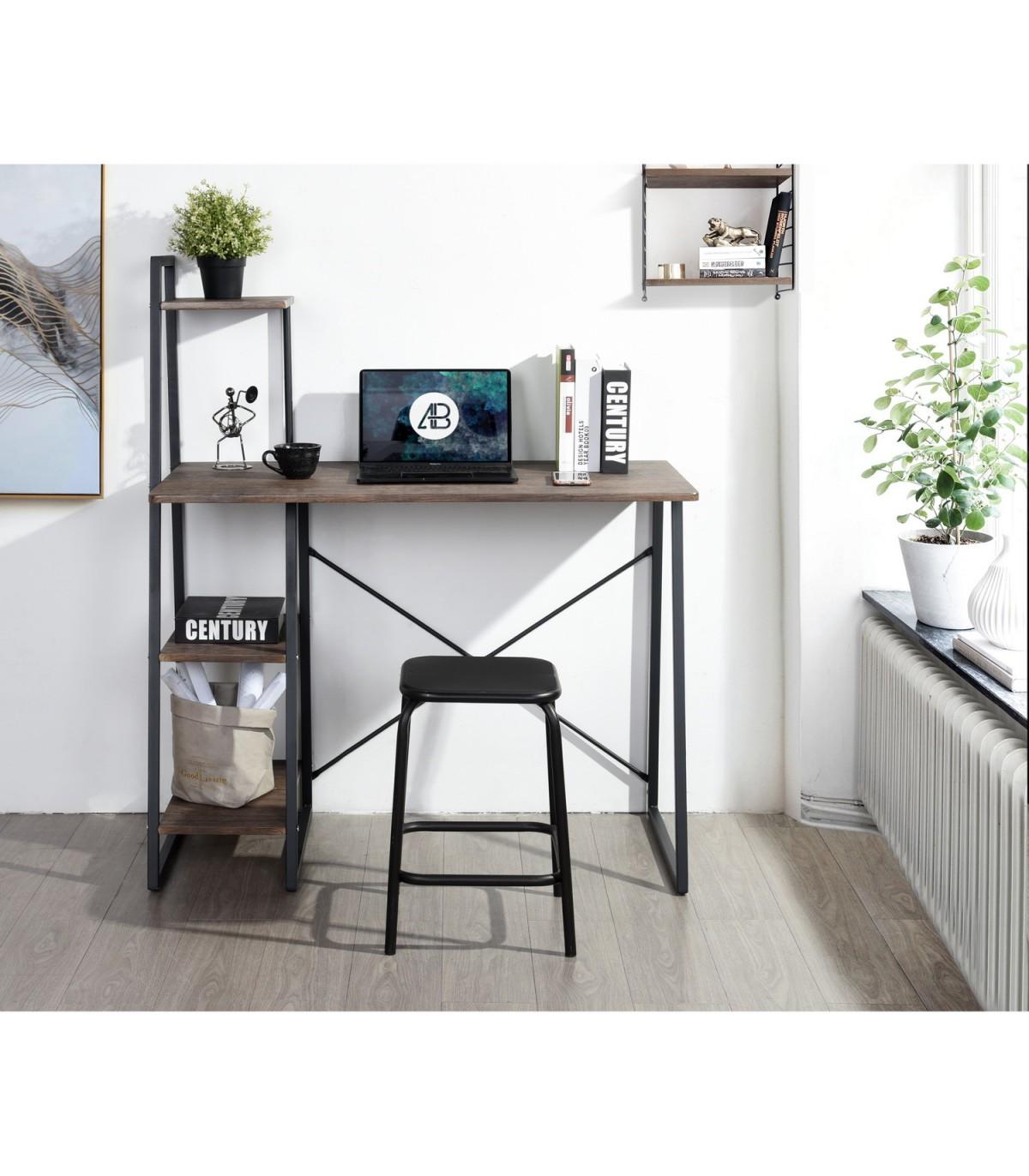 Bureau avec étagère 4 niveaux décor noyer