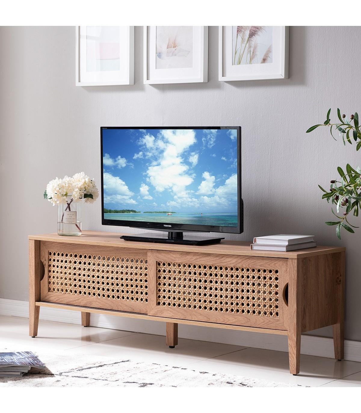 Meuble TV avec 2 portes coulissantes décor rotin