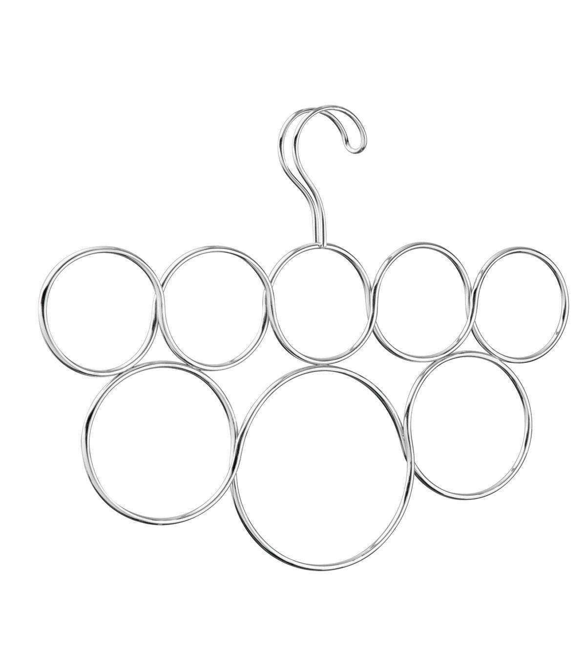 Cintre porte-écharpes 8 anneaux - Gris