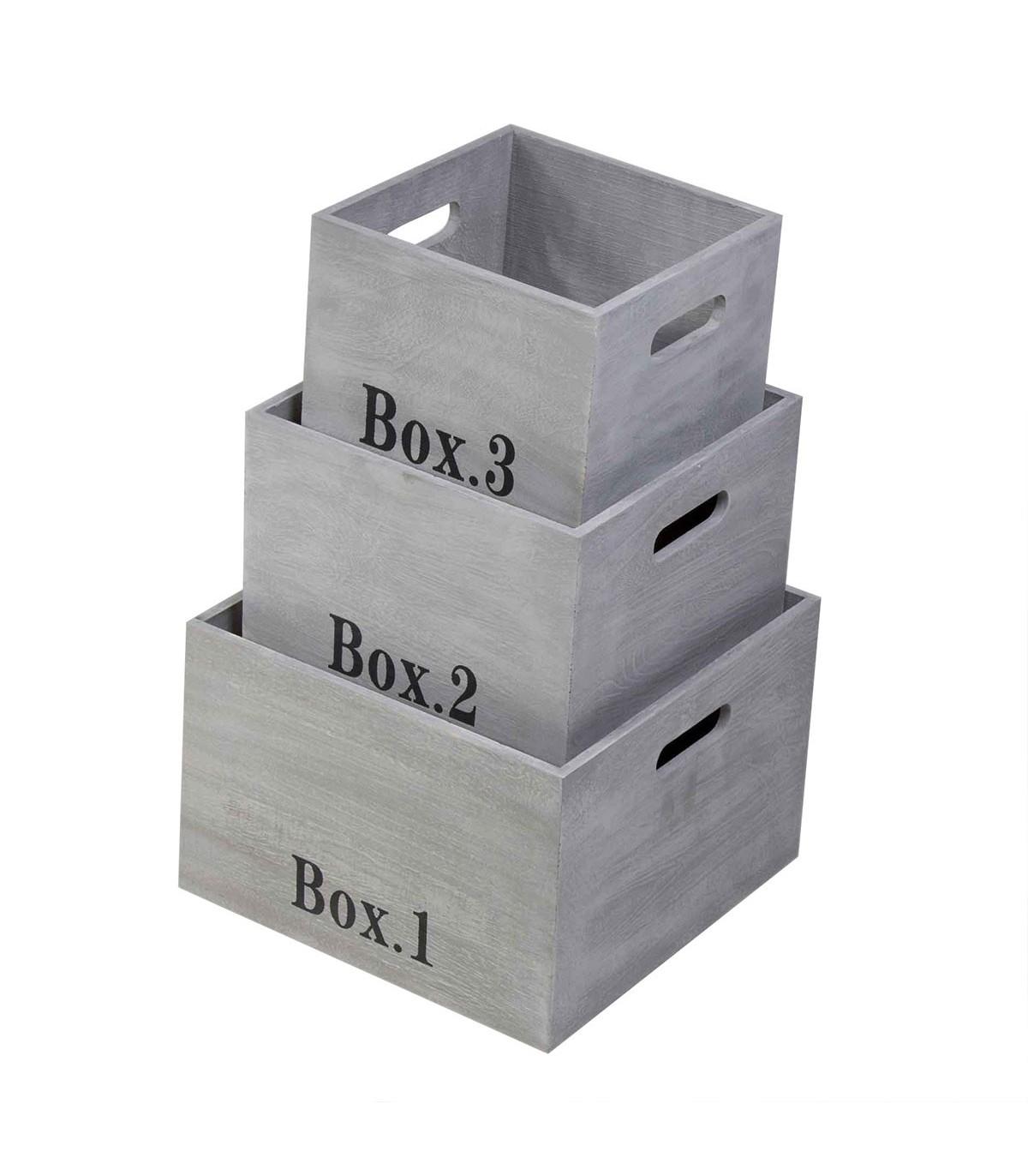Cubes empilables en bois vendus par 3 - Gris