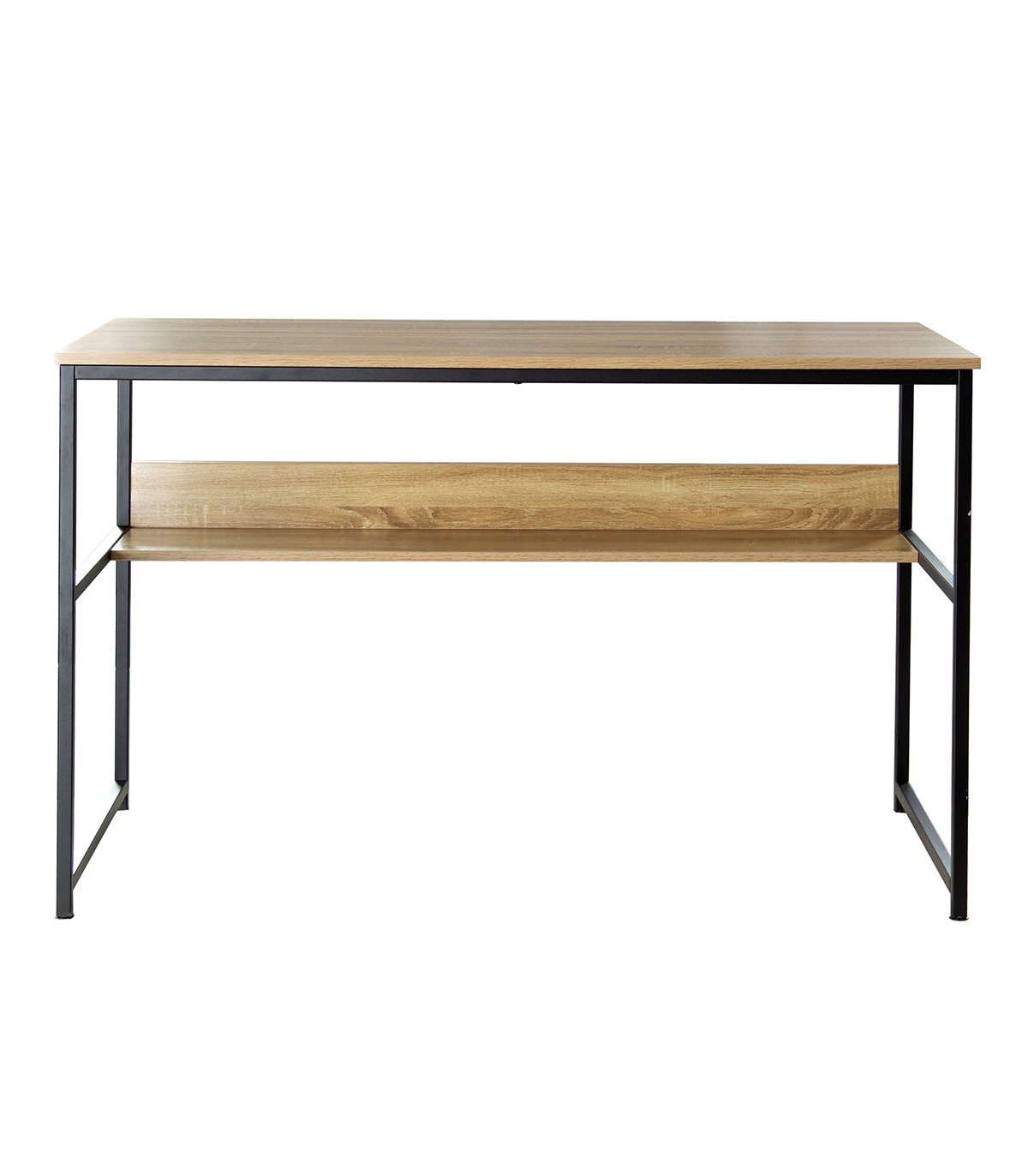Bureau avec étagère métal style industriel - Marron