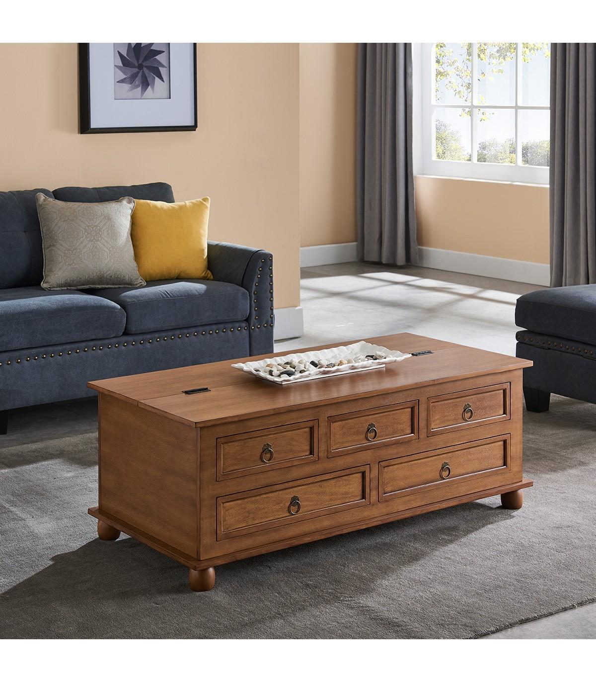 Table basse coffre placage frêne avec tiroirs - Marron