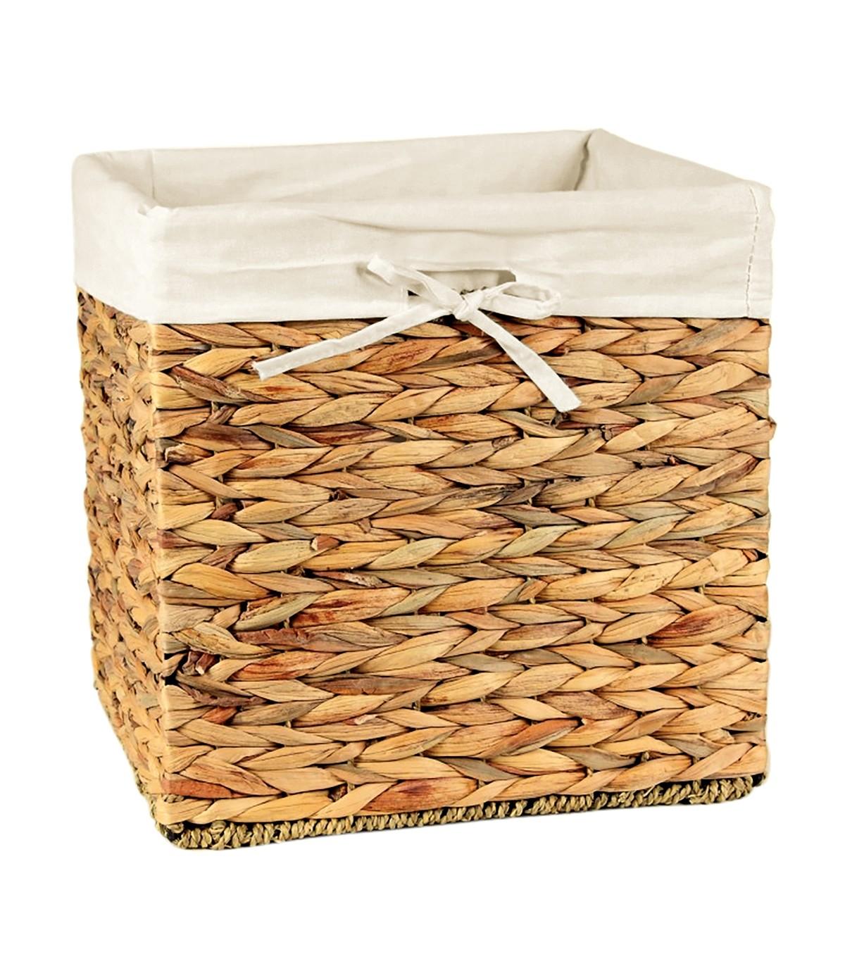 Cube de rangement en jacinthe d'eau - 32x32x32cm - Marron