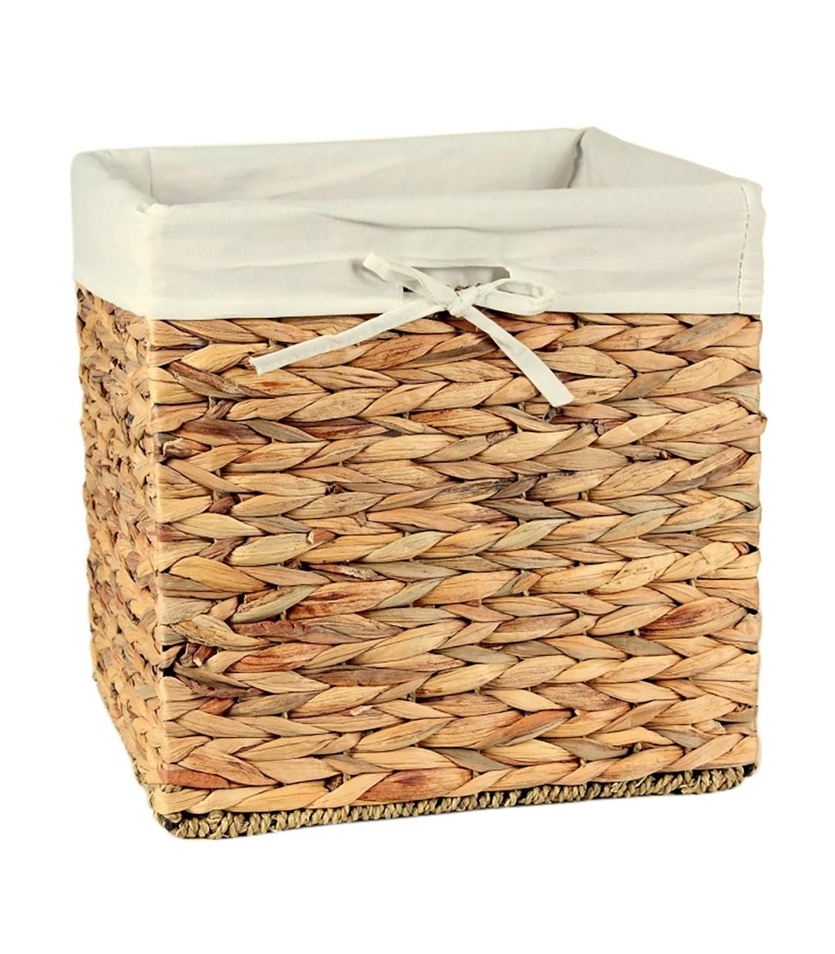 Cube de rangement en jacinthe d'eau - 28x28x28cm - Marron