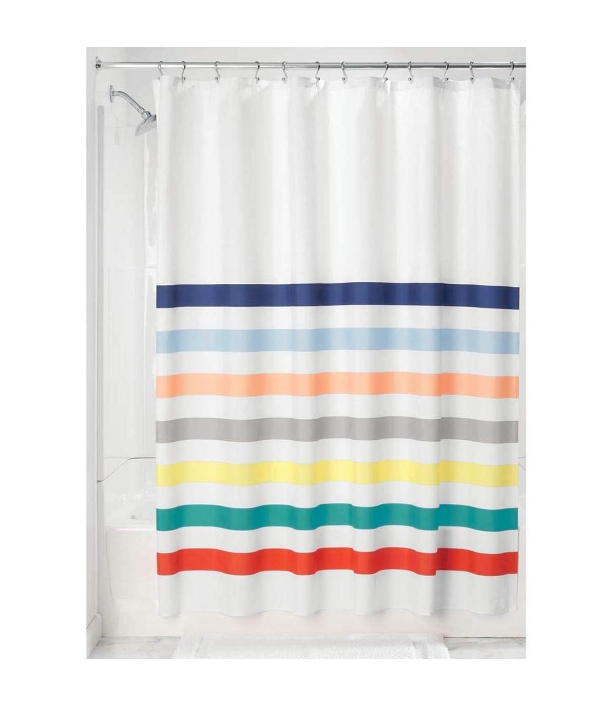 Rideau de douche blanc et rayures multicolores - 183 x 0,1 x H183 cm