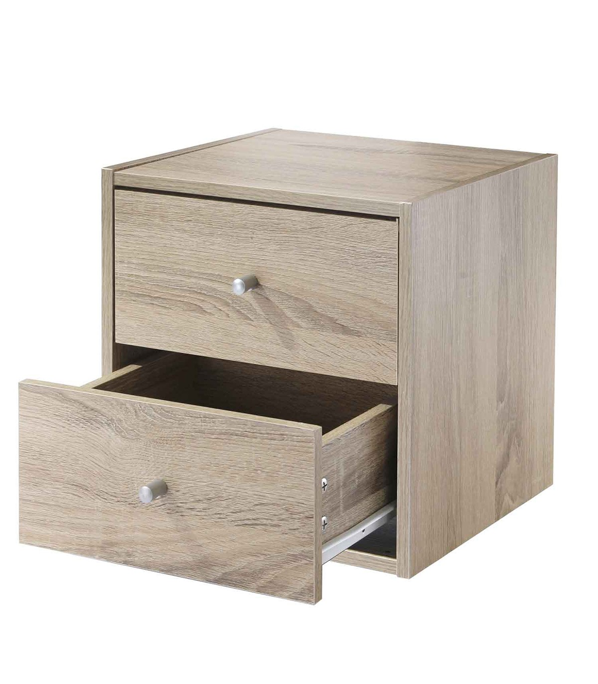 Meuble une case avec deux tiroirs - Marron