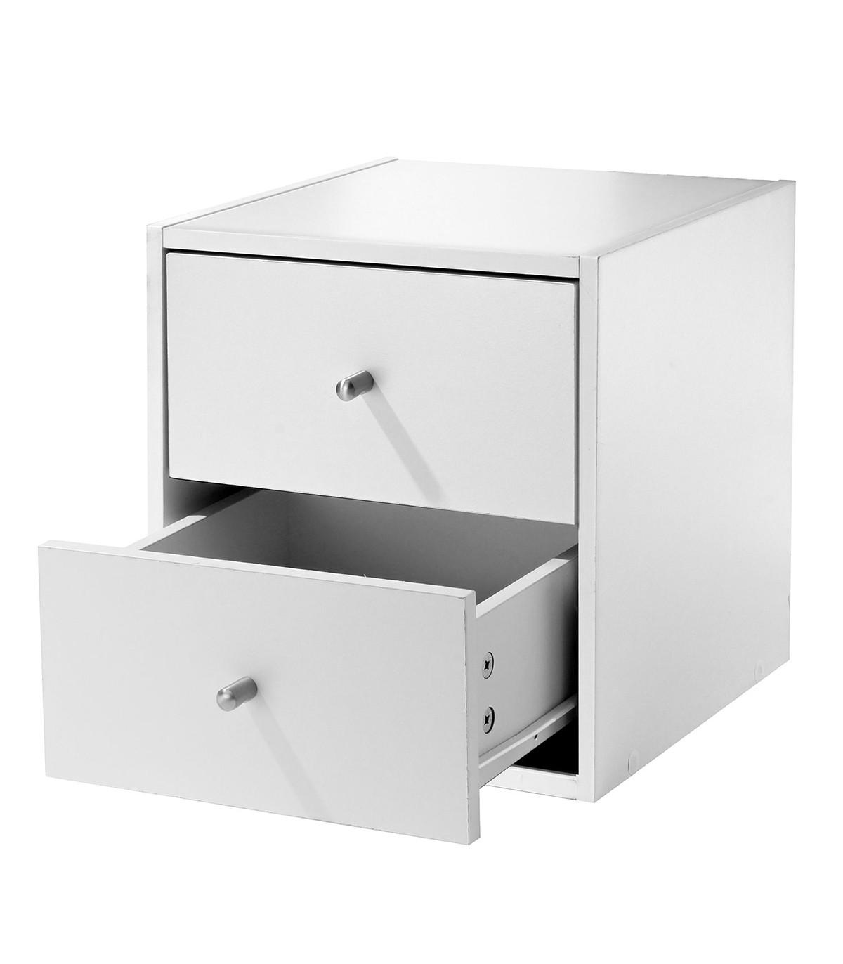 Meuble une case avec deux tiroirs - Blanc