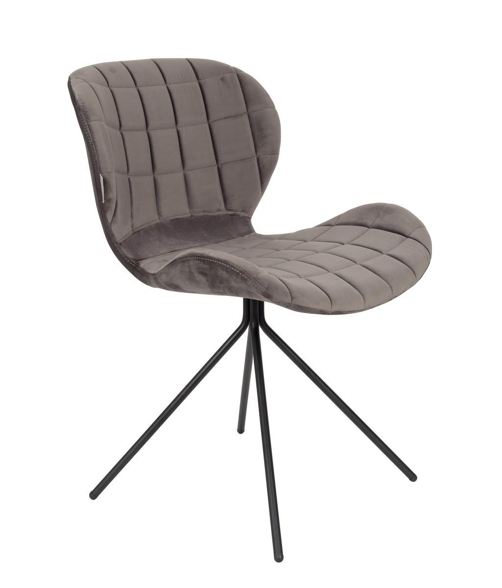 Chaise design en velours gris