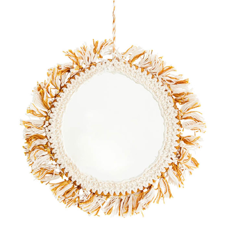 Miroir décoratif bohème en métal jaune D14