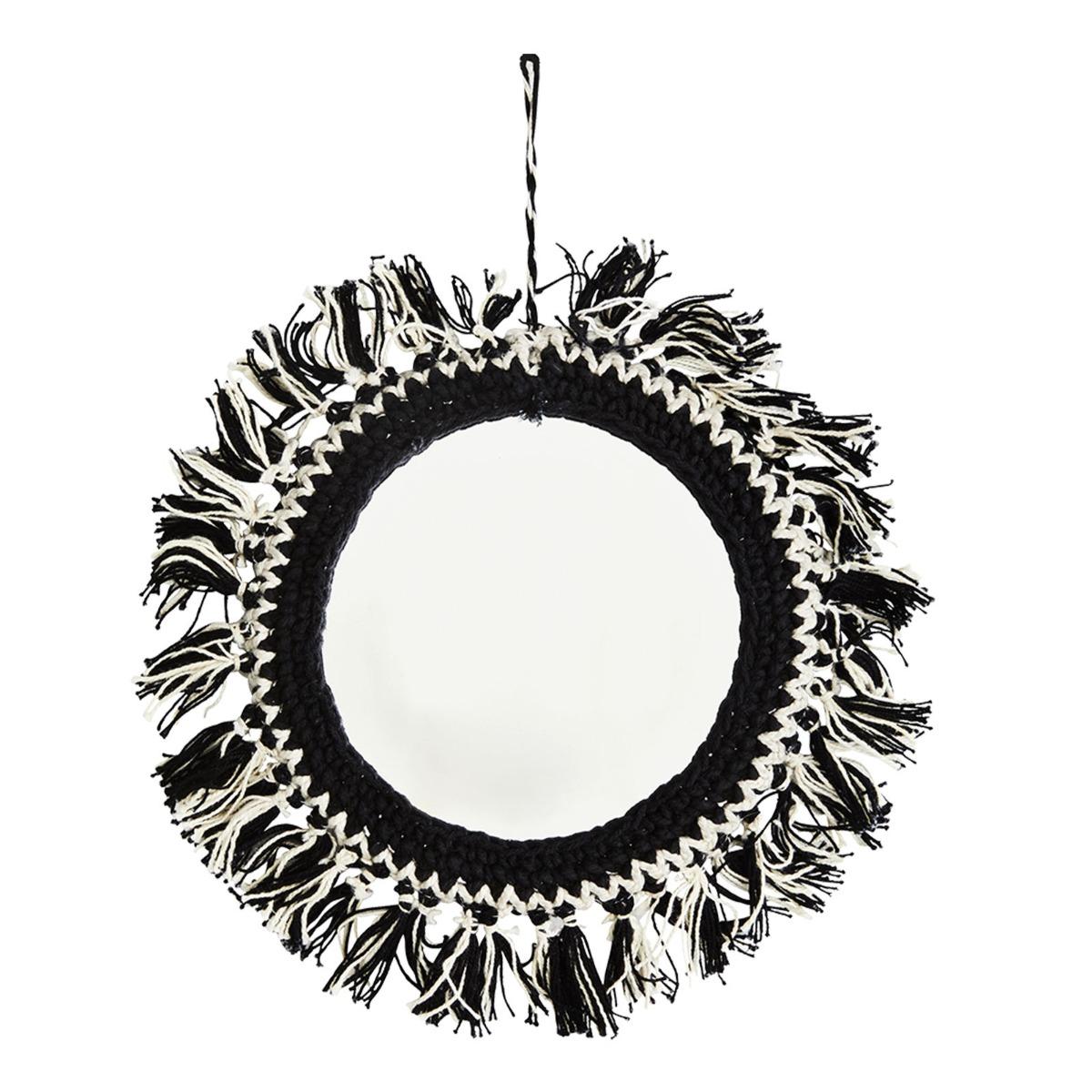 Miroir décoratif bohème en métal noir D14cm