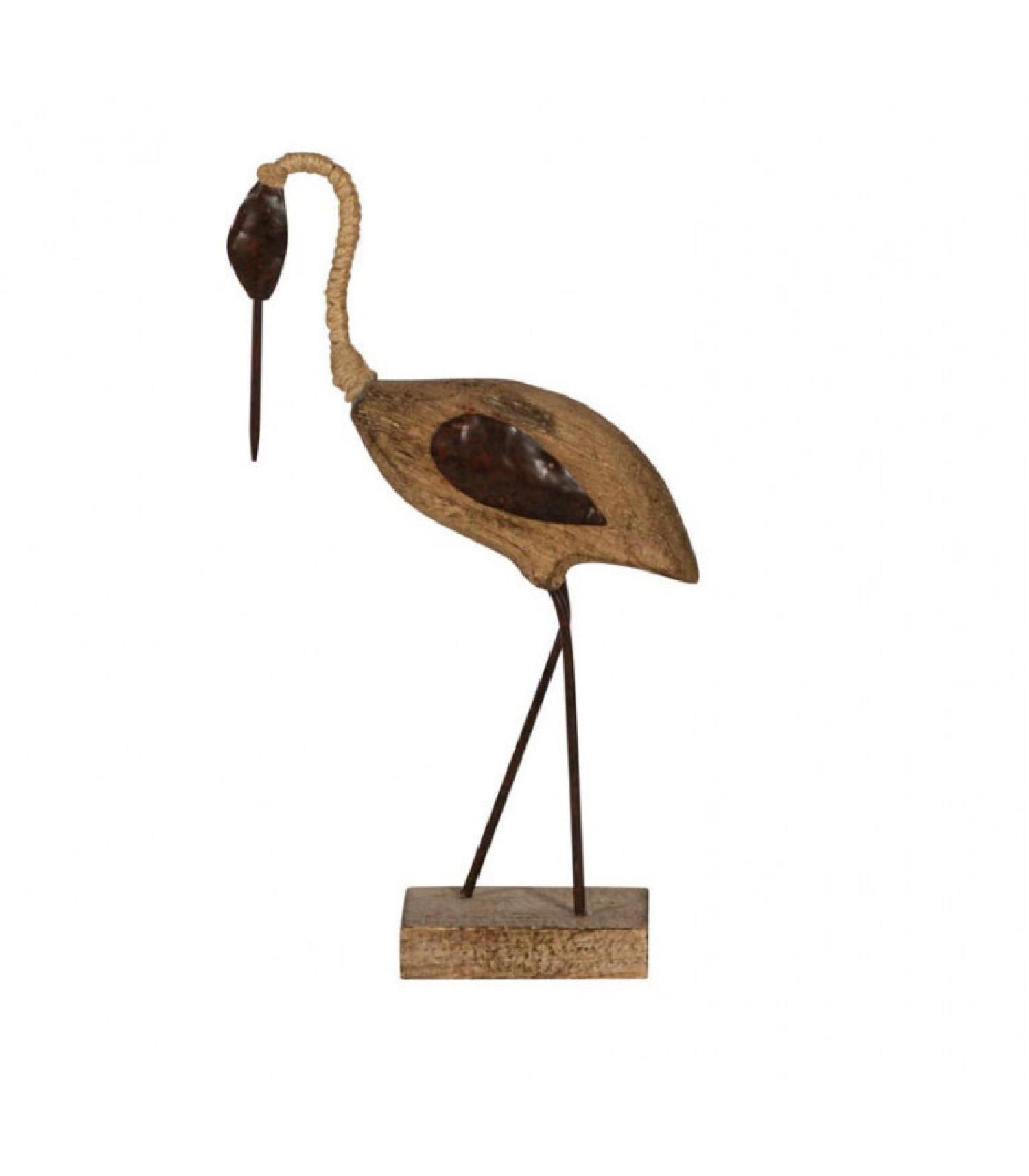 Oiseau échassier décoratif en bois sculpté et métal H26,5cm