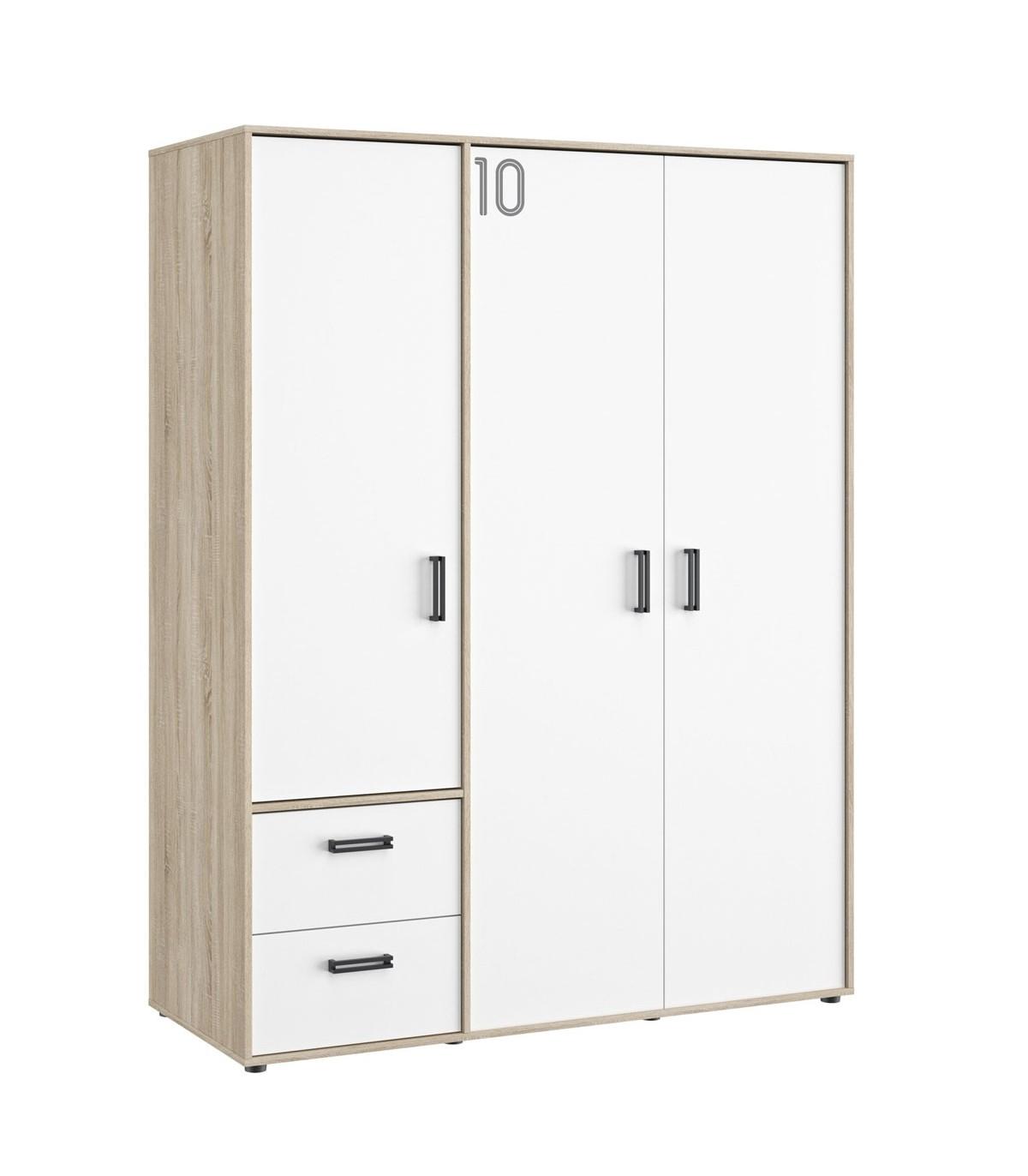 Armoire 3 portes et 2 tiroirs Enfants - Blanc 155xH200 cm