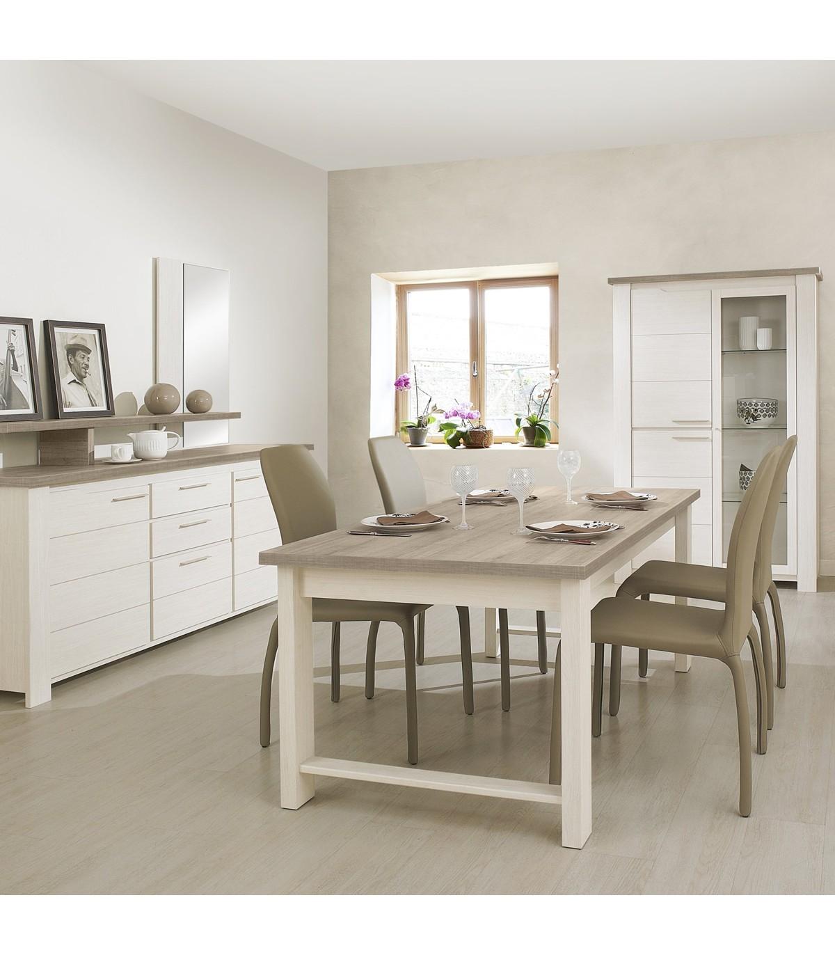 Table à manger rectangulaire couleur bois et blanc - L225cm