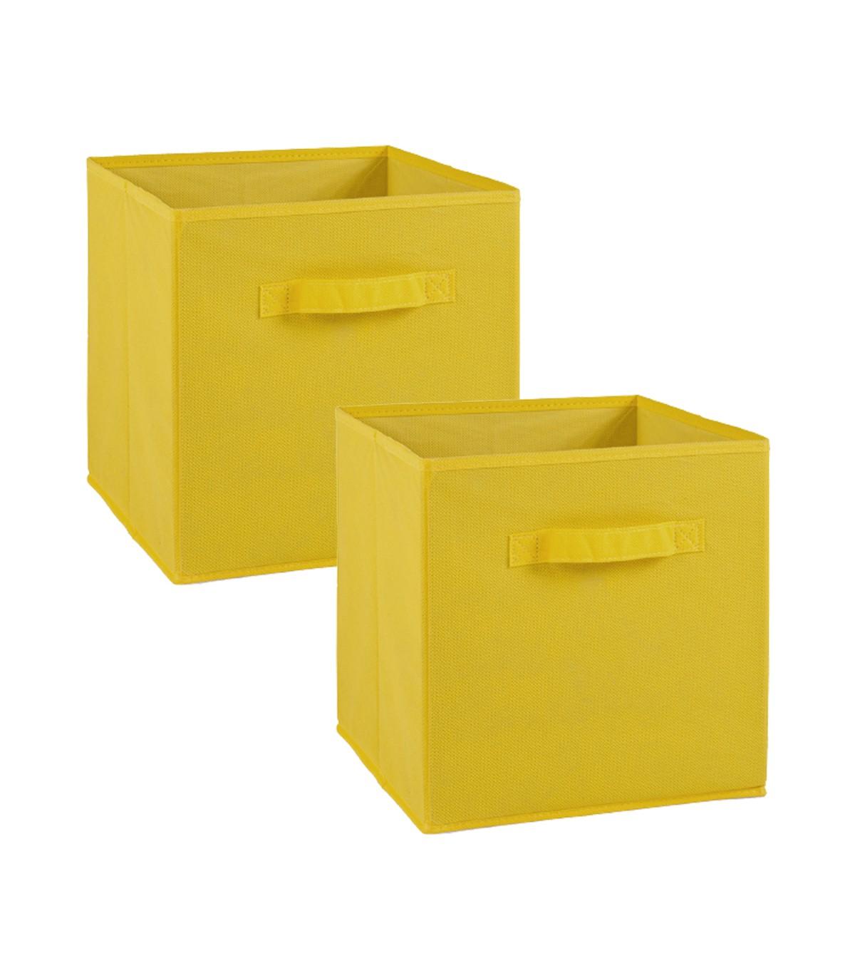 Lot de 2 cubes en intissé - 28x28x27cm - Jaune
