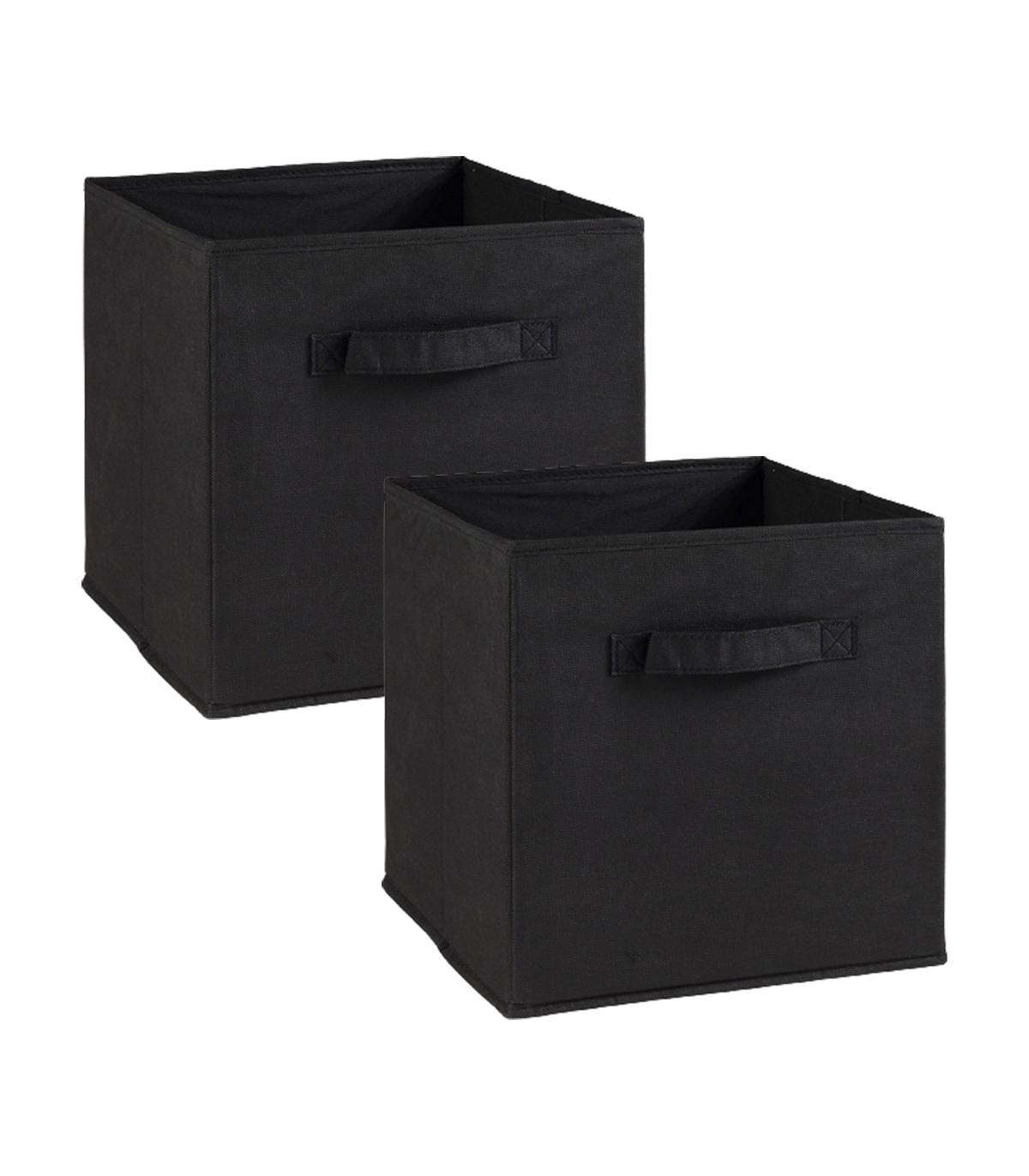 Lot de 2 cubes en intissé - 28x28x27cm - Noir