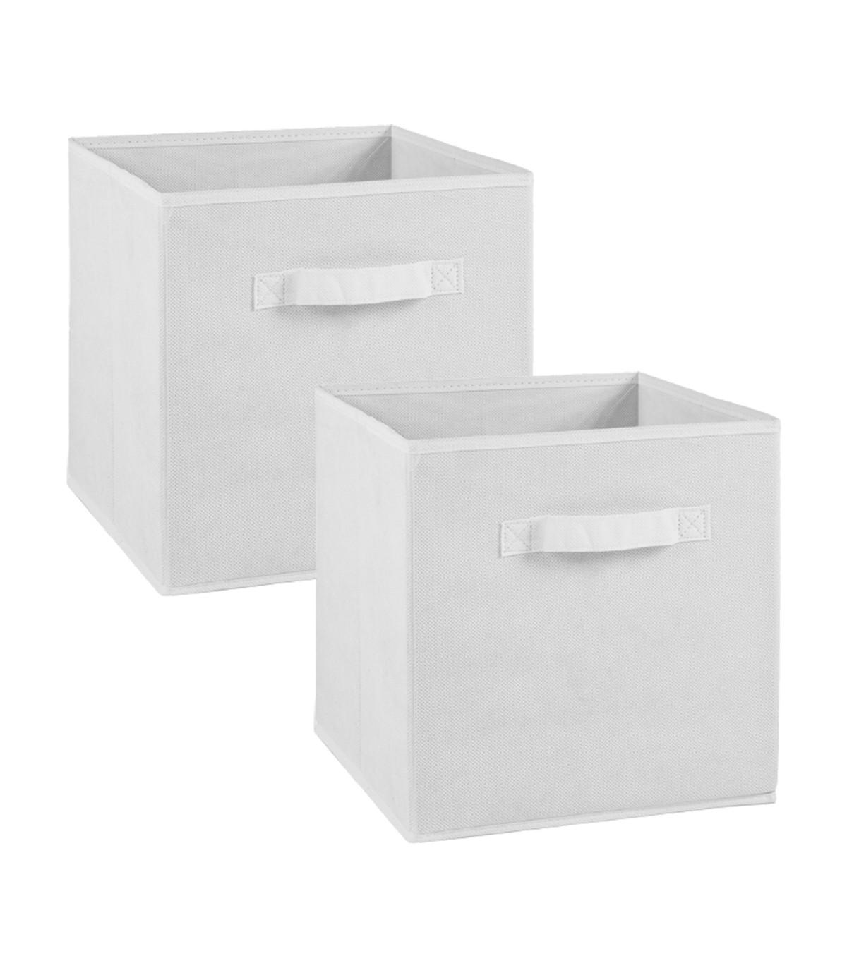 Lot de 2 cubes en intissé - 28x28x27cm - Blanc