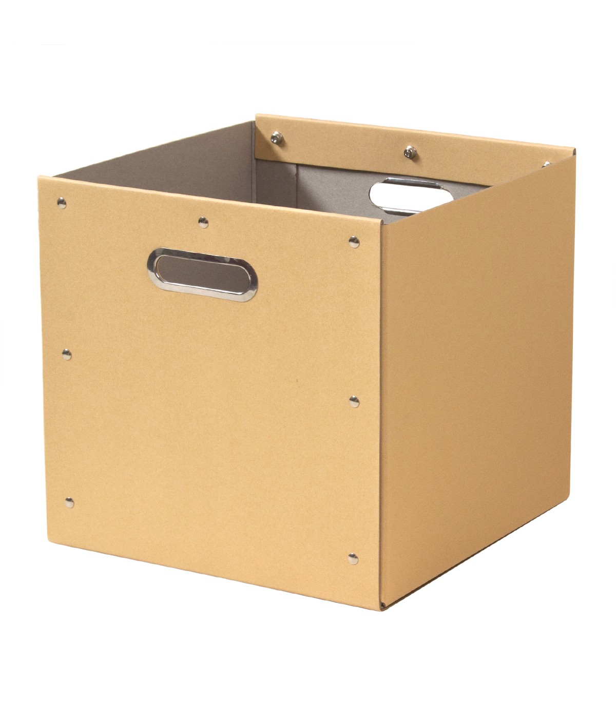 Cube de rangement en kraft finition métal - 28x28x27cm - Beige