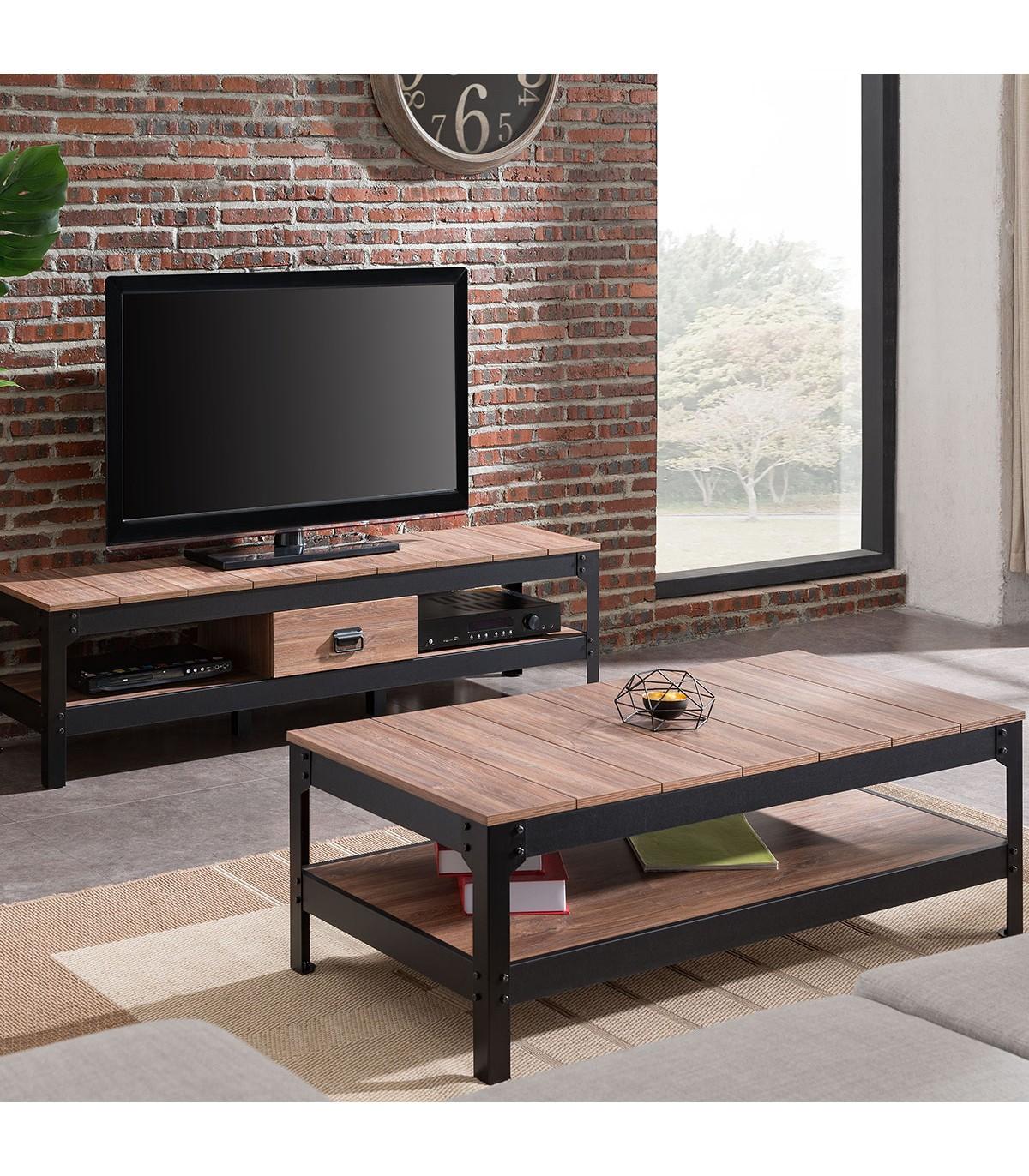 Table basse métal noir et bois - L117cm