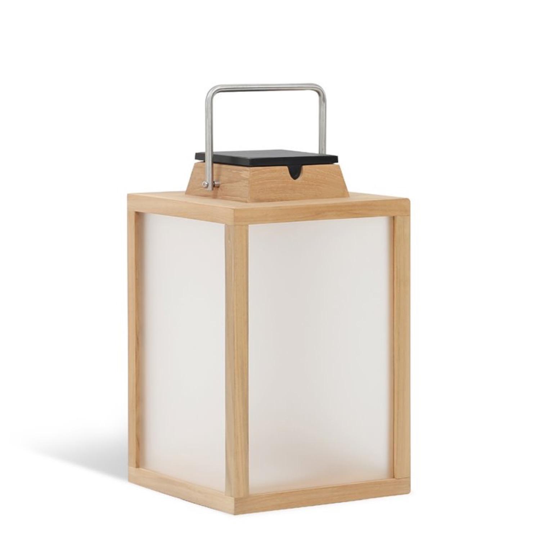 Lampe d'extérieur LED rechargeable et solaire bois H40cm