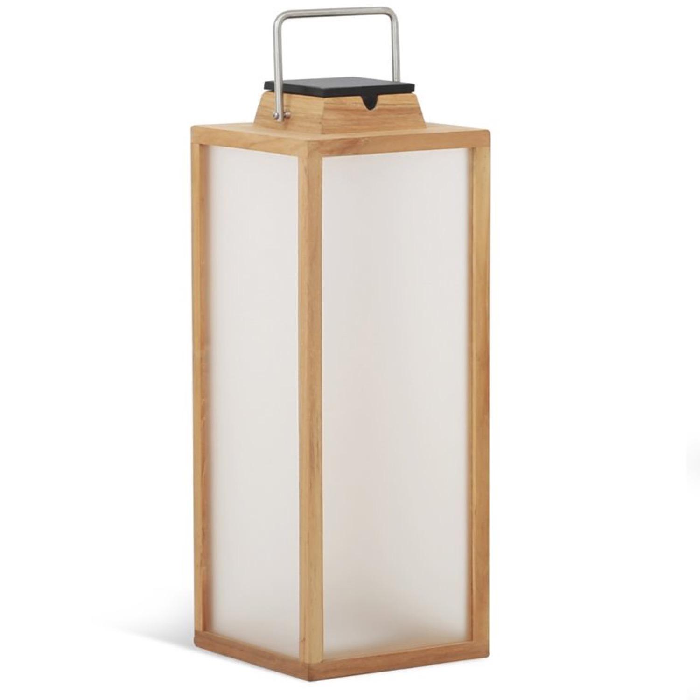 Lampe d'extérieur LED rechargeable et solaire bois H65cm