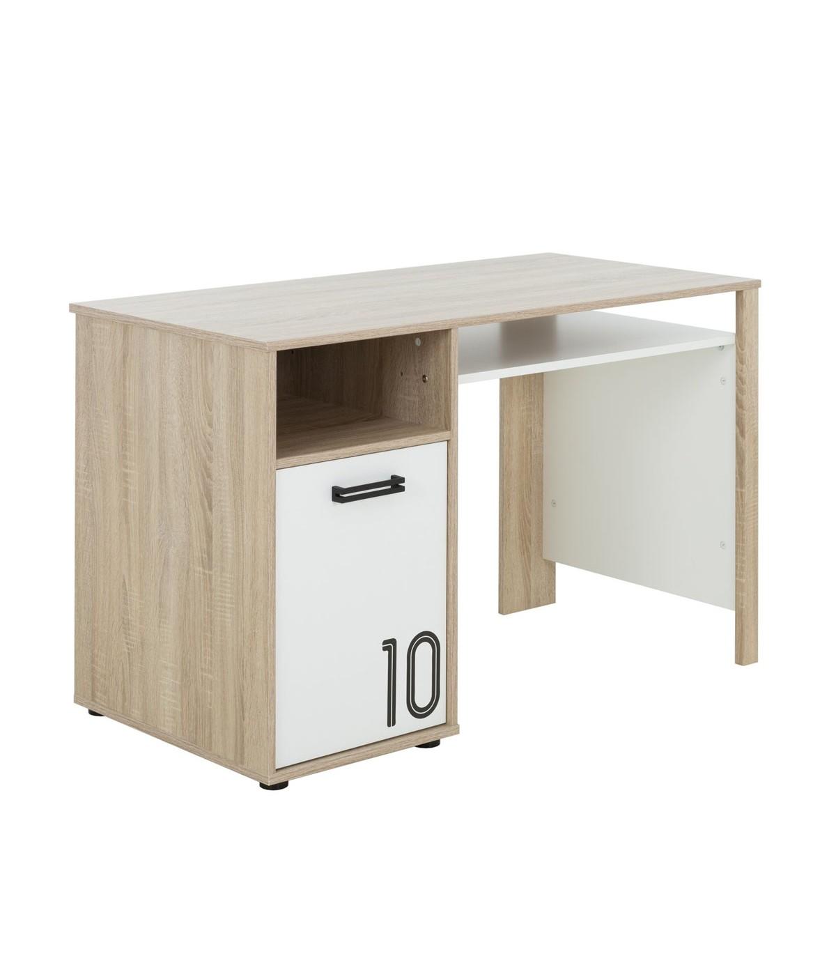 Bureau avec 1 porte et rangements L120cm - Marron clair et blanc