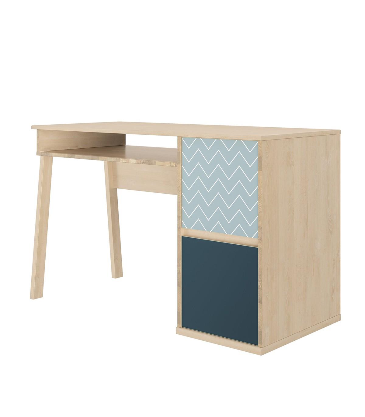 Bureau avec 1 niche et 2 portes - Beige et bleu